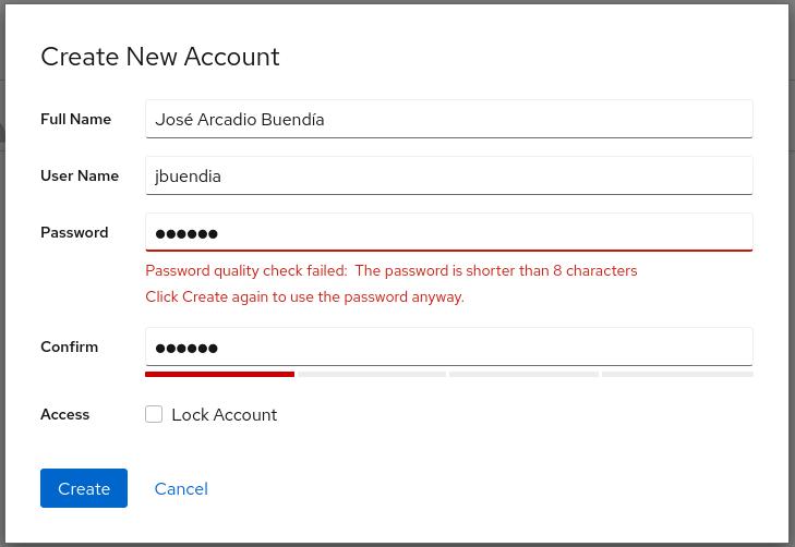Accounts weak password