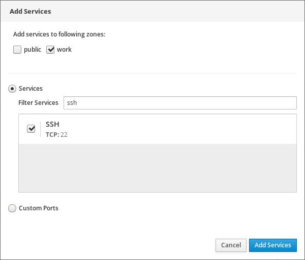 Adding services to zones