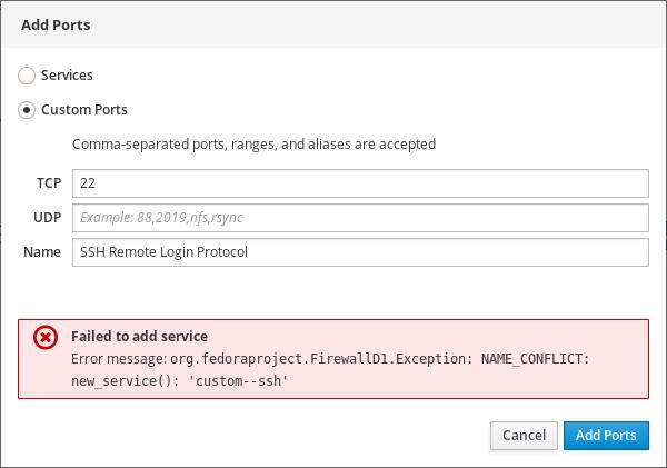 Firewall error message