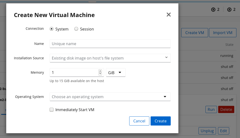 Machines creating a VM by importing an existing disk