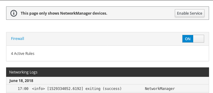 Disabled stopped NetworkManager