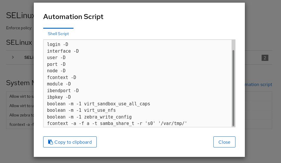 SELinux automation script