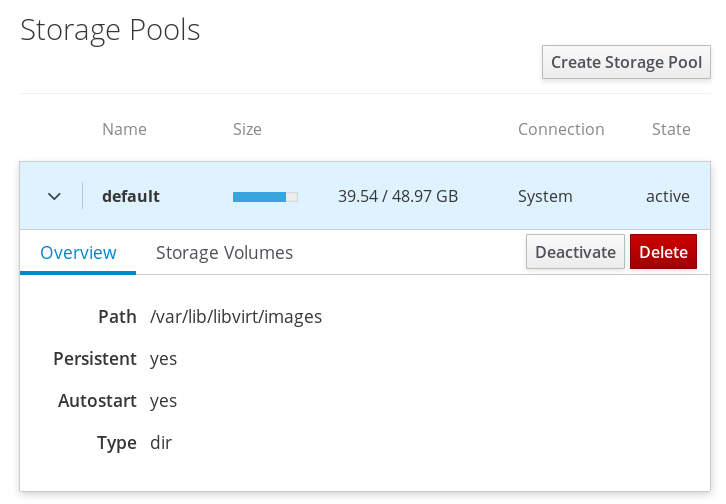 Storage pool operation