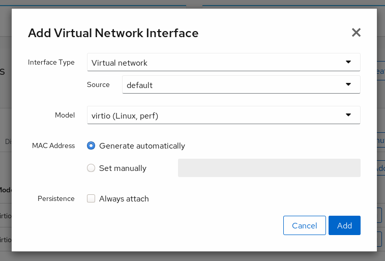 VM Network Interface creation